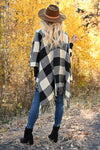 Date in the Mountains Buffalo Plaid Poncho - Ivory & Black womens trendy plaid poncho fringe trim closet candy back