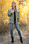 Across The Sky Star Print Jacket - Olive womens trendy star printed structured button up jacket closet candy front 3