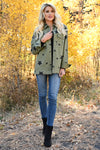 Across The Sky Star Print Jacket - Olive womens trendy star printed structured button up jacket closet candy front 2
