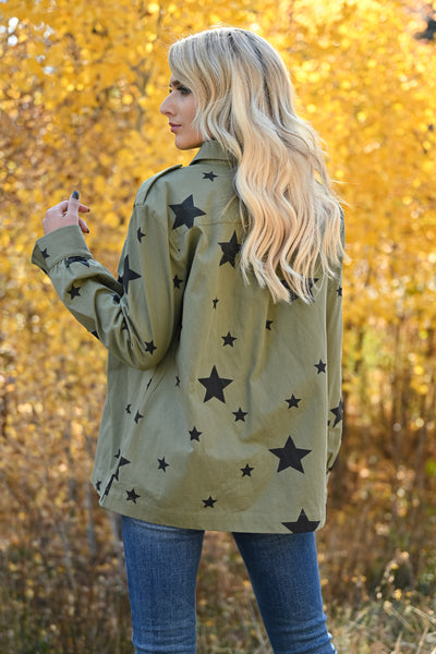 Across The Sky Star Print Jacket - Olive womens trendy star printed structured button up jacket closet candy back