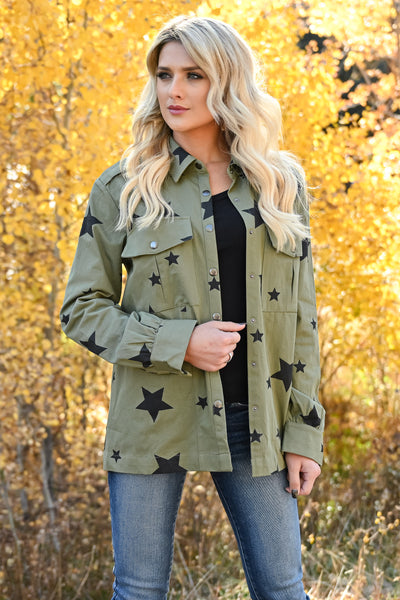 Across The Sky Star Print Jacket - Olive womens trendy star printed structured button up jacket closet candy front