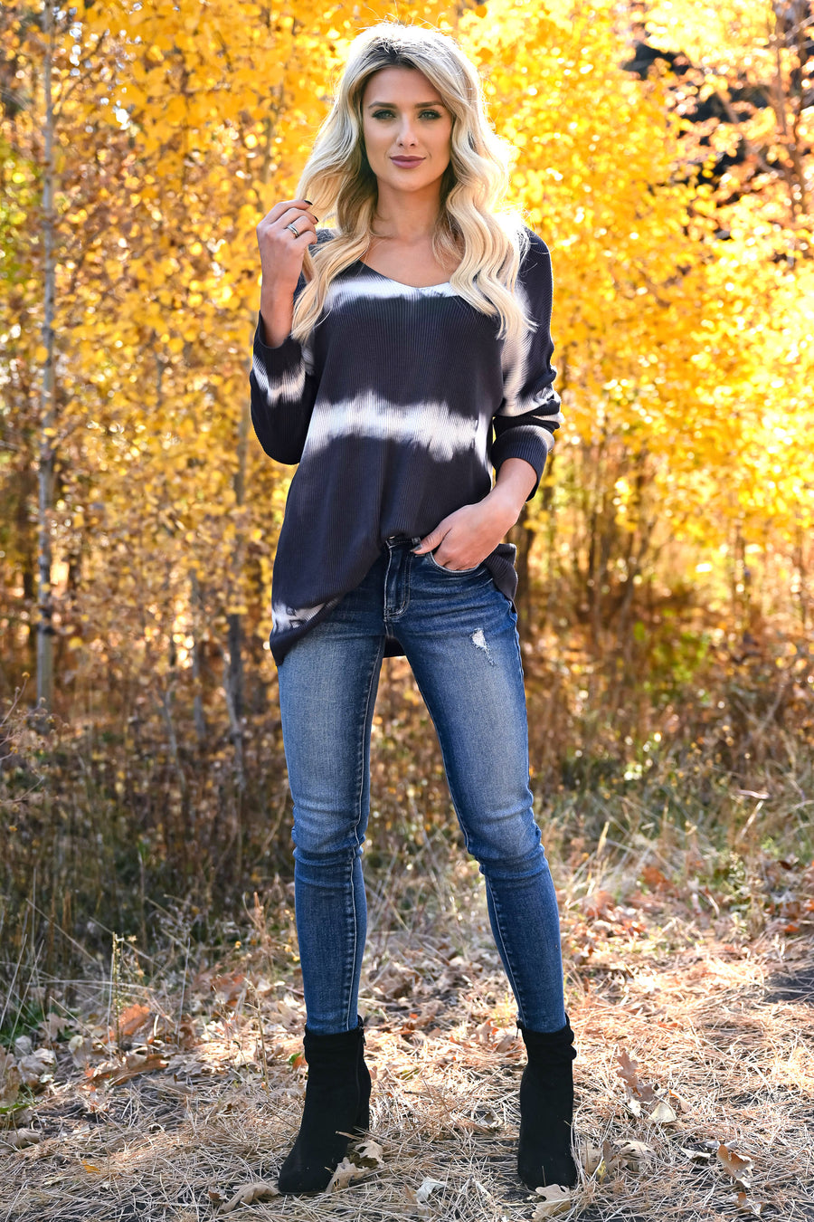 Like This Forever Tie Dye Top - Charcoal womens trendy long sleeve v-neck top closet candy front