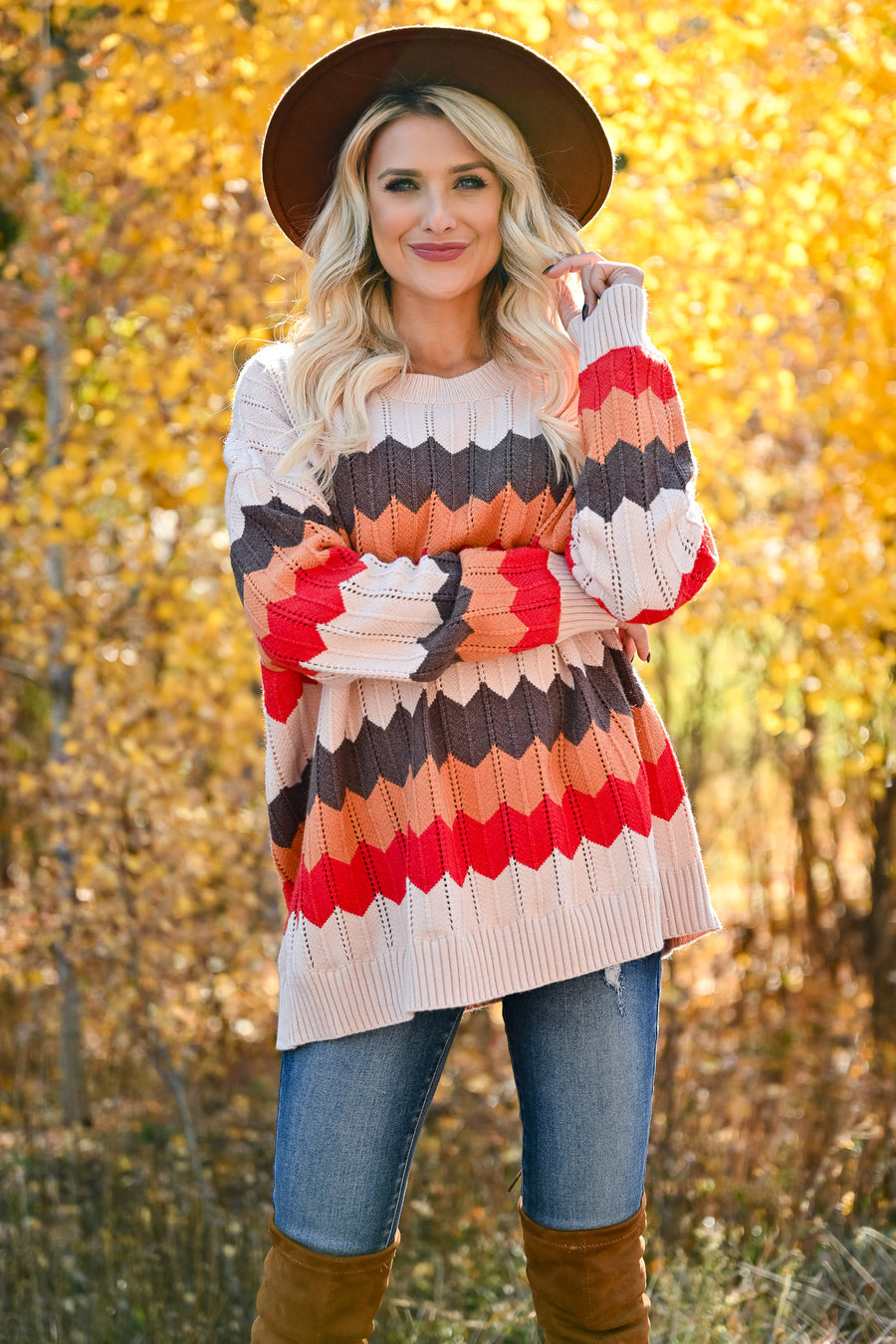 Gather Together Sweater - Multi womens multicolor chevron knit sweater long sleeve closet candy side