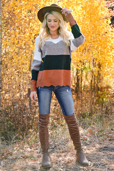 Too Much Spice V-Neck Top - Hunter Green & Rust womens trendy long sleeve color block scalloped top closet candy front 2