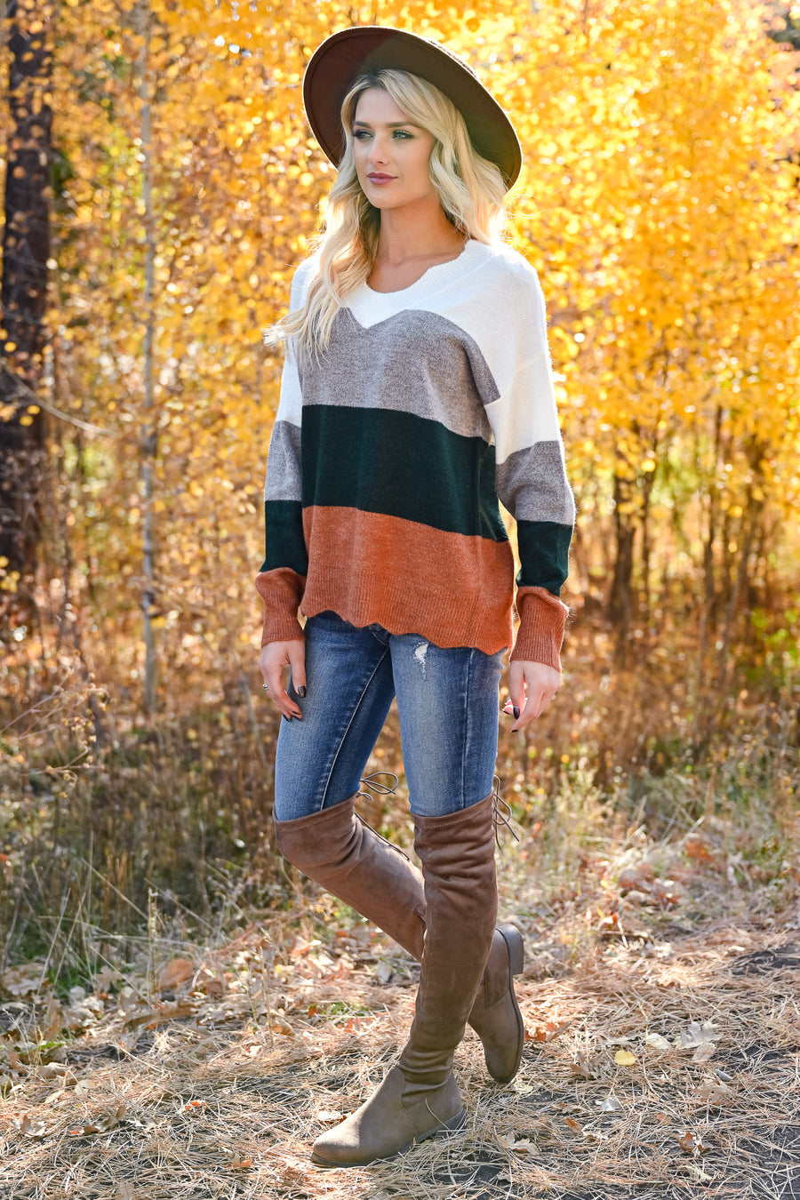 Too Much Spice V-Neck Top - Hunter Green & Rust womens trendy long sleeve color block scalloped top closet candy front