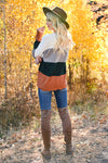 Too Much Spice V-Neck Top - Hunter Green & Rust womens trendy long sleeve color block scalloped top closet candy back