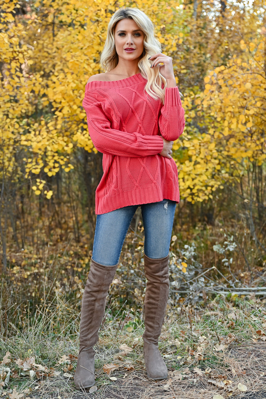 Fly Somewhere Off The Shoulder Sweater - Coral womens trendy cable knit long sleeve off the shoulder sweater closet candy front