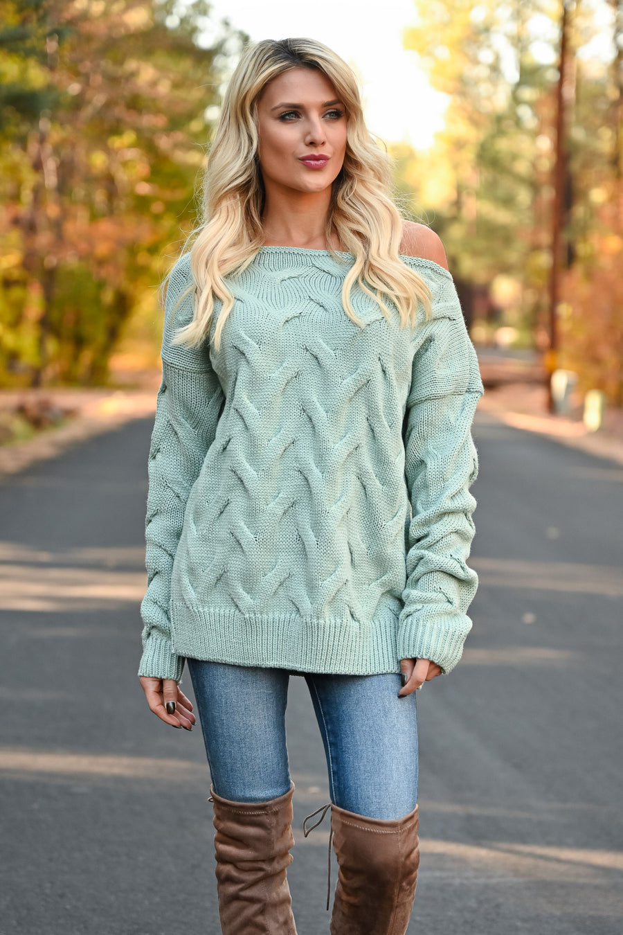 Cuddle Up Off The Shoulder Sweater - Mint womens trendy cable knit long sleeve ribbed trim sweater closet candy front