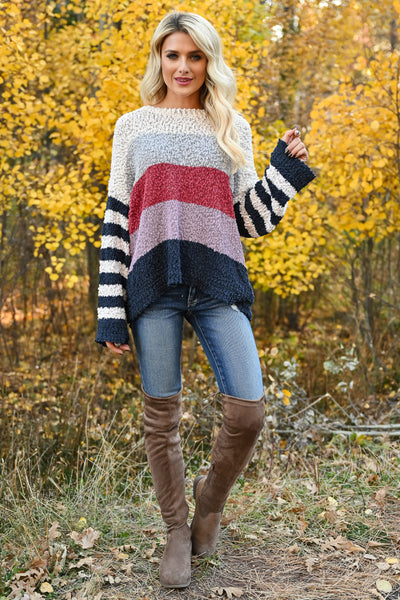 Fall For Adventure Sweater - Multi womens trendy long sleeve color block round neckline sweater closet candy front 2