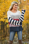 Fall For Adventure Sweater - Multi womens trendy long sleeve color block round neckline sweater closet candy front