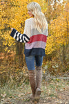 Fall For Adventure Sweater - Multi womens trendy long sleeve color block round neckline sweater closet candy back