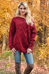 Cuddle Up Off The Shoulder Sweater - Wine womens trendy cable knit long sleeve ribbed trim sweater closet candy front