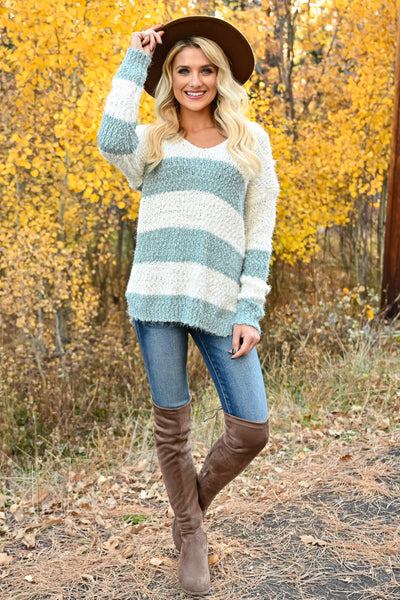 Never Too Late Striped Popcorn Sweater - Mint womens trendy striped popcorn knit v-neck long sleeve sweater closet candy front