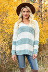 Never Too Late Striped Popcorn Sweater - Mint womens trendy striped popcorn knit v-neck long sleeve sweater closet candy front 2