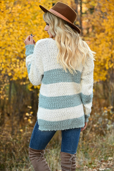 Never Too Late Striped Popcorn Sweater - Mint womens trendy striped popcorn knit v-neck long sleeve sweater closet candy back