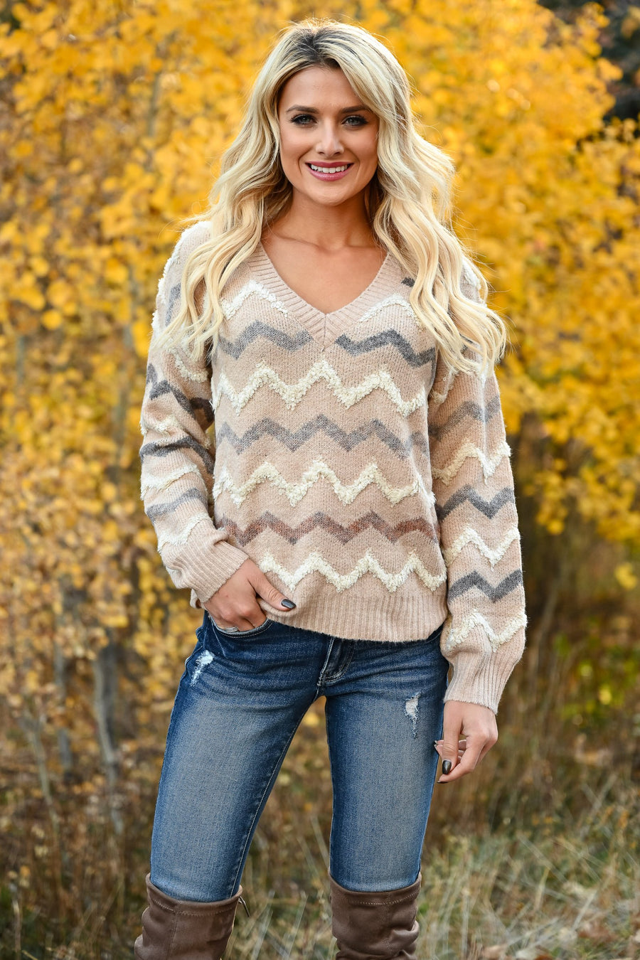 Back Again Knit Sweater - Taupe front leaning against wall ; Model: Hannah Sluss