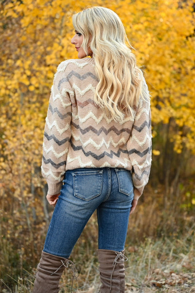 Back Again Knit Sweater - Taupe womens trendy long sleeve chevron trim sweater closet candy back