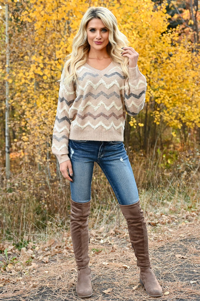 Back Again Knit Sweater - Taupe womens trendy long sleeve chevron trim sweater closet candy front 2
