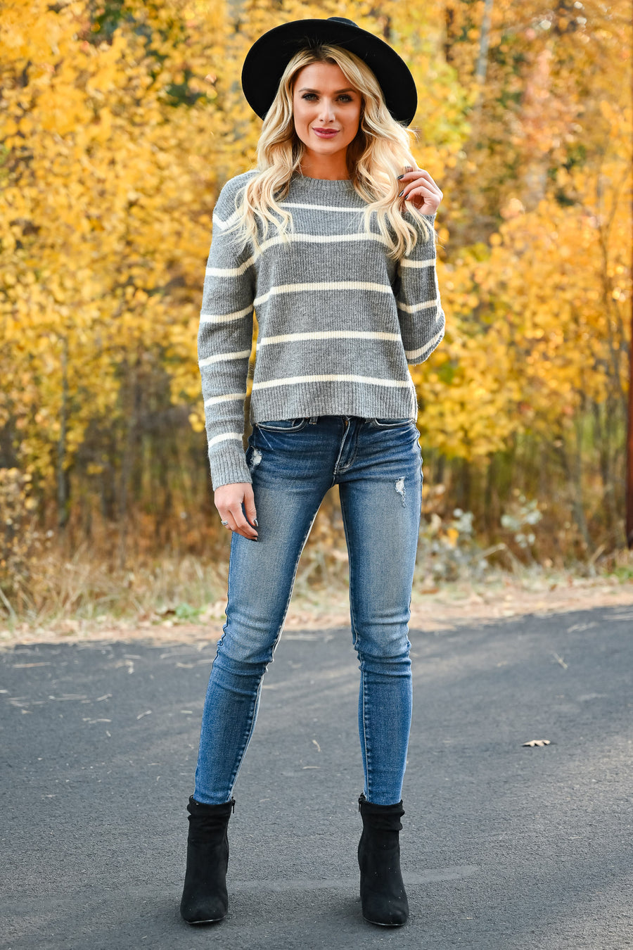 New Heights Cropped Stripe Sweater - Heather Grey womens casual striped knit pullover long sleeve sweater closet candy front