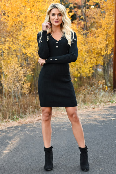 Something So Good Dress - Black womens fitted ribbed knit long sleeve dress closet candy front