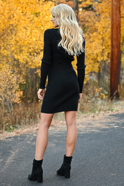 Something So Good Dress - Black womens fitted ribbed knit long sleeve dress closet candy back