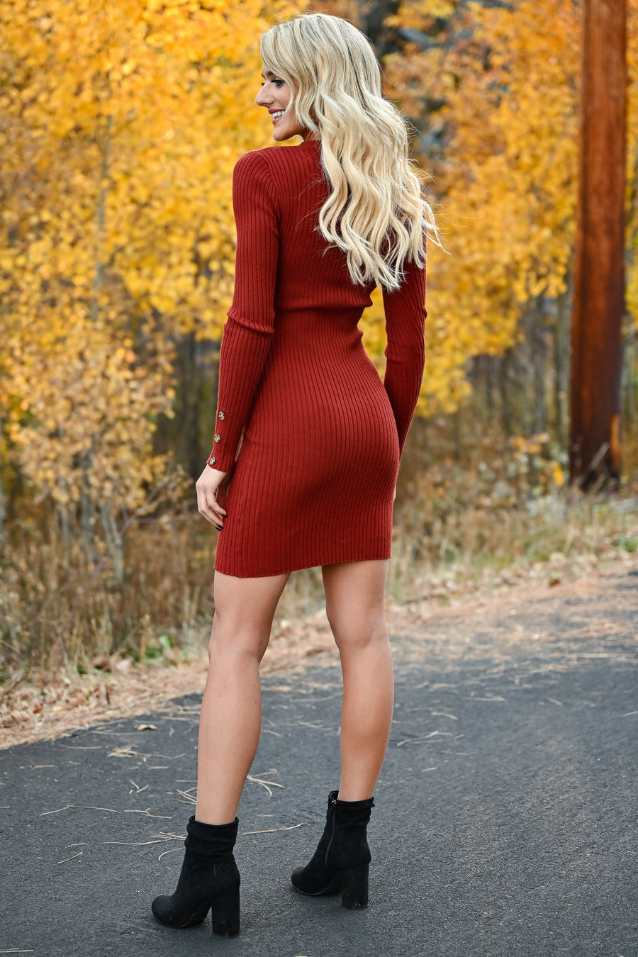 Something So Good Dress - Rust womens trendy fitted ribbed knit long sleeve dress closet candy side