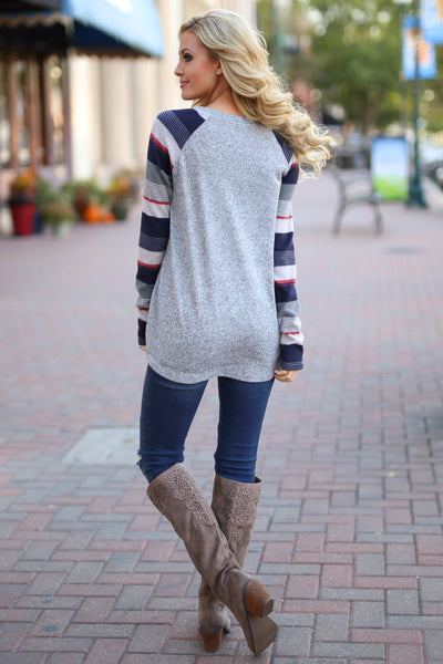 Life To the Fullest Top - Grey/Navy stripe sleeve raglan top, sequin pocket, back, Closet Candy Boutique 3