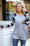 Life To the Fullest Top - Grey/Navy stripe sleeve raglan top, sequin pocket, Closet Candy Boutique 1