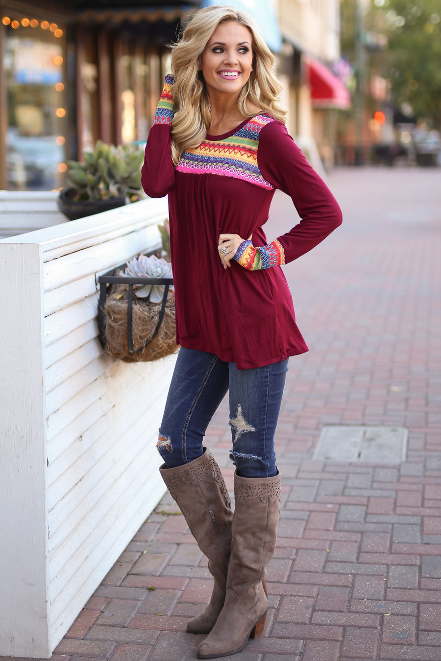 Golden Memories Top - Wine embroidered top, front, Closet Candy Boutique