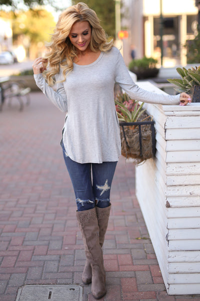 Heart Is In Montana Top - Heather Grey long sleeve basic top, front, Closet Candy Boutique