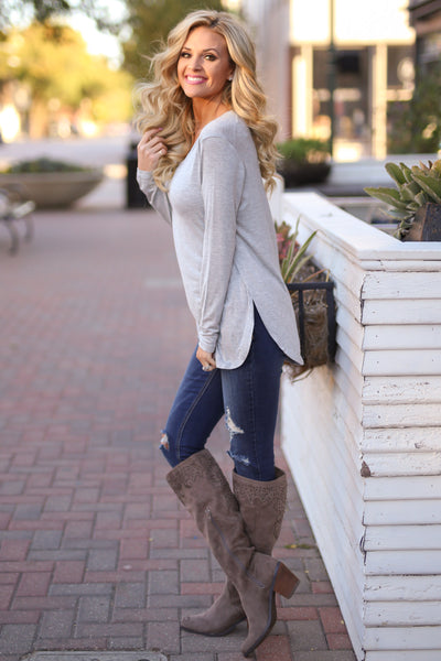 Heart Is In Montana Top - Heather Grey long sleeve basic top, side, Closet Candy Boutique