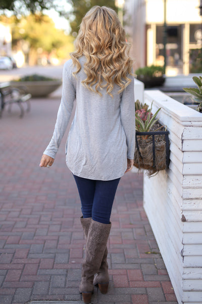 Heart Is In Montana Top - Heather Grey long sleeve basic top, back, Closet Candy Boutique