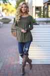 Heart Is In Montana Top - Olive long sleeve top, Closet Candy Boutique 1