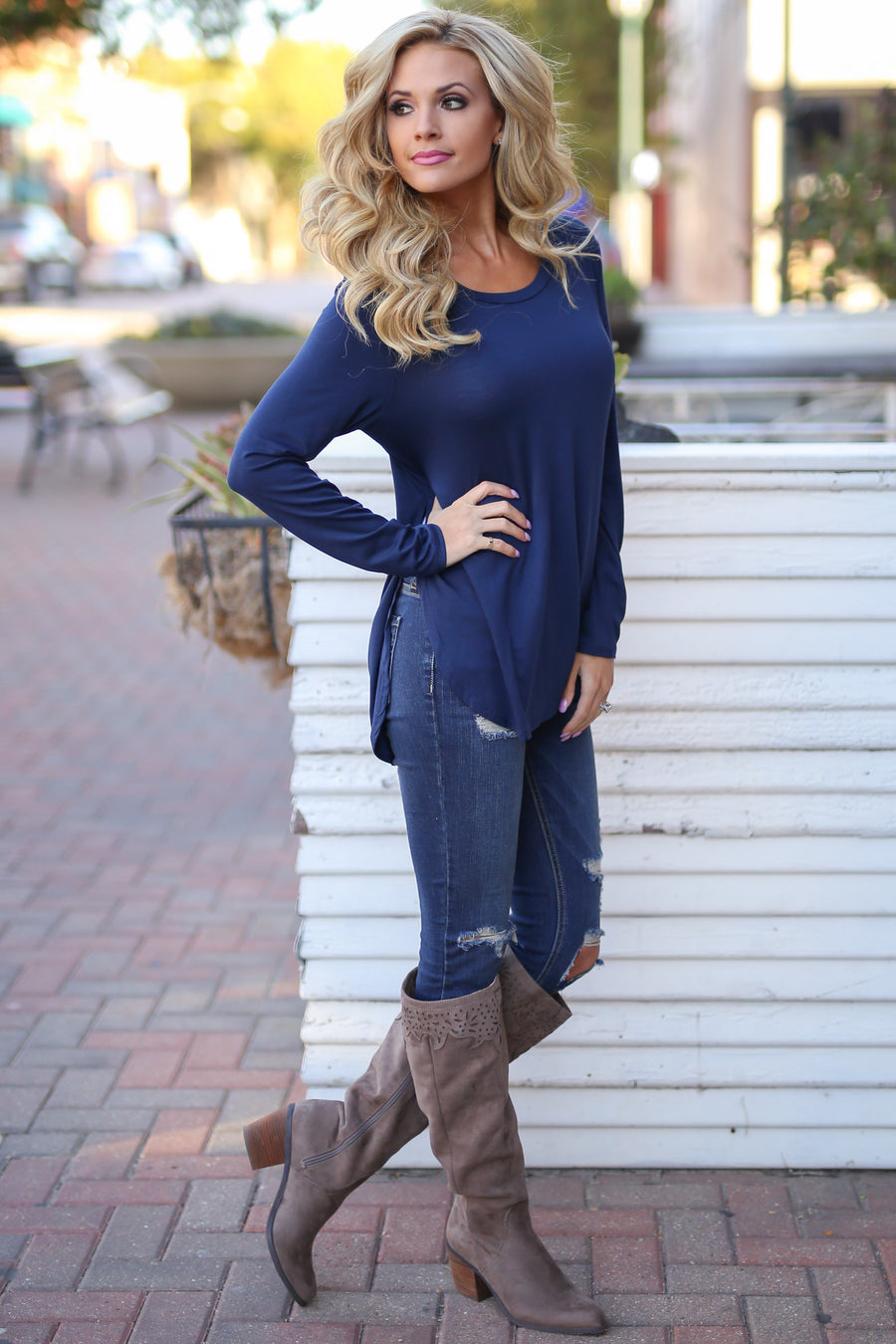 Heart Is In Montana Top - Navy long sleeve top, basics, Closet Candy Boutique 1