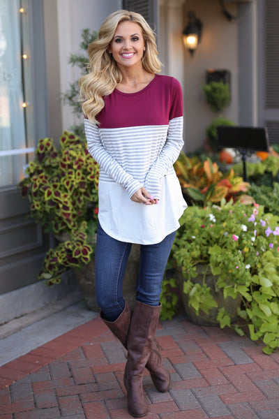 All Day Everyday Long Sleeve Top - Wine contrast stripe top, Closet Candy Boutique 1