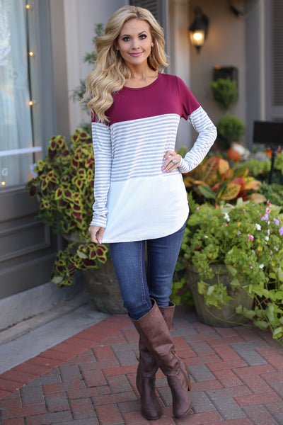 All Day Everyday Long Sleeve Top - Wine contrast stripe top, Closet Candy Boutique 4