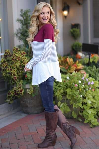 All Day Everyday Long Sleeve Top - Wine contrast stripe top, Closet Candy Boutique 3