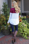 All Day Everyday Long Sleeve Top - Wine contrast stripe top, Closet Candy Boutique 2