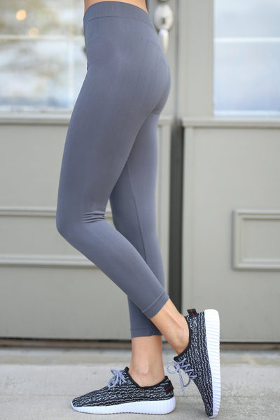 In My Zone Athletic Leggings - grey athletic leggings, cute workout apparel, side, Closet Candy Boutique