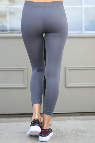 In My Zone Athletic Leggings - grey athletic leggings, cute workout apparel, back, Closet Candy Boutique