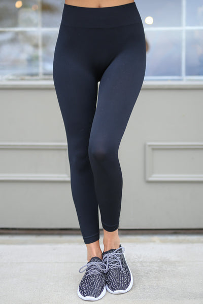In My Zone Athletic Leggings - black athletic leggings, cute workout apparel, front, Closet Candy Boutique