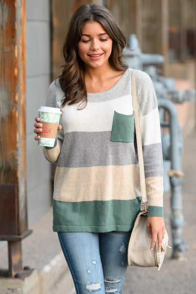 Make You Blush Sweater - Sage, grey, ivory, cream women's cozy, chunky, color block top with pocket, closet candy boutique 2; Model: Hannah Ann S