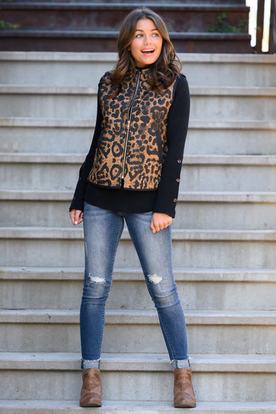 Worth The Chase Vest - Leopard women's animal print zipper vest, closet candy boutique 2 - Model: Hannah Sluss