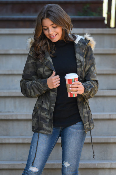 Hit The Slopes Camo Parka Jacket - Olive women's fur lined jacket, closet candy boutique 2