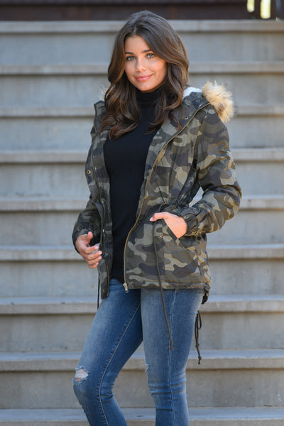 Hit The Slopes Camo Parka Jacket - Olive women's fur lined jacket, closet candy boutique 5