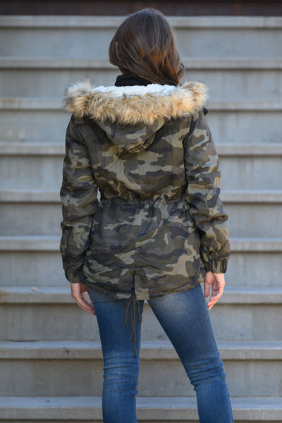 Hit The Slopes Camo Parka Jacket - Olive women's fur lined jacket, closet candy boutique 4