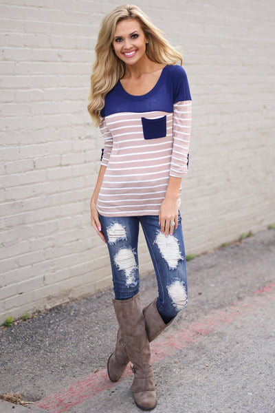 Favorite 3/4 Sleeve Top - Mocha & Navy stripe top, front, Closet Candy Boutique