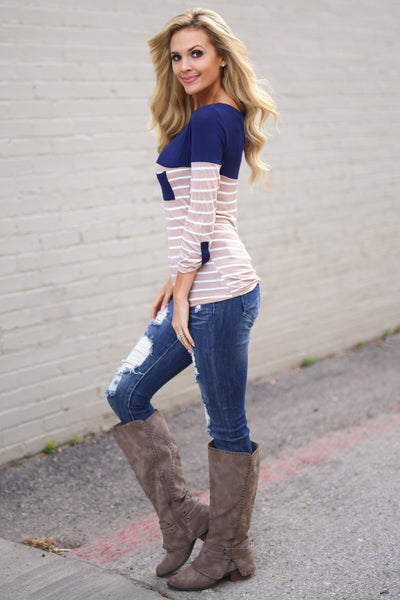Favorite 3/4 Sleeve Top - Mocha & Navy stripe top, side, Closet Candy Boutique