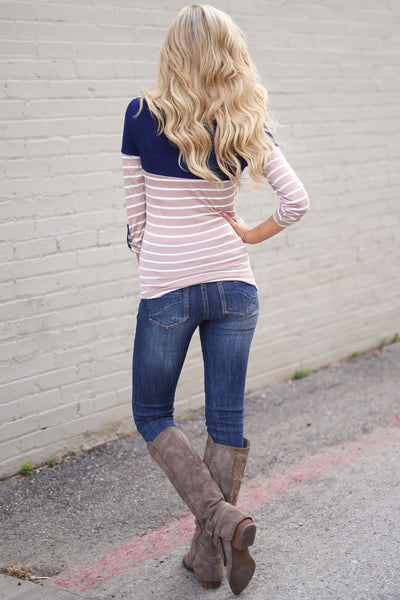 Favorite 3/4 Sleeve Top - Mocha & Navy stripe top, back, Closet Candy Boutique