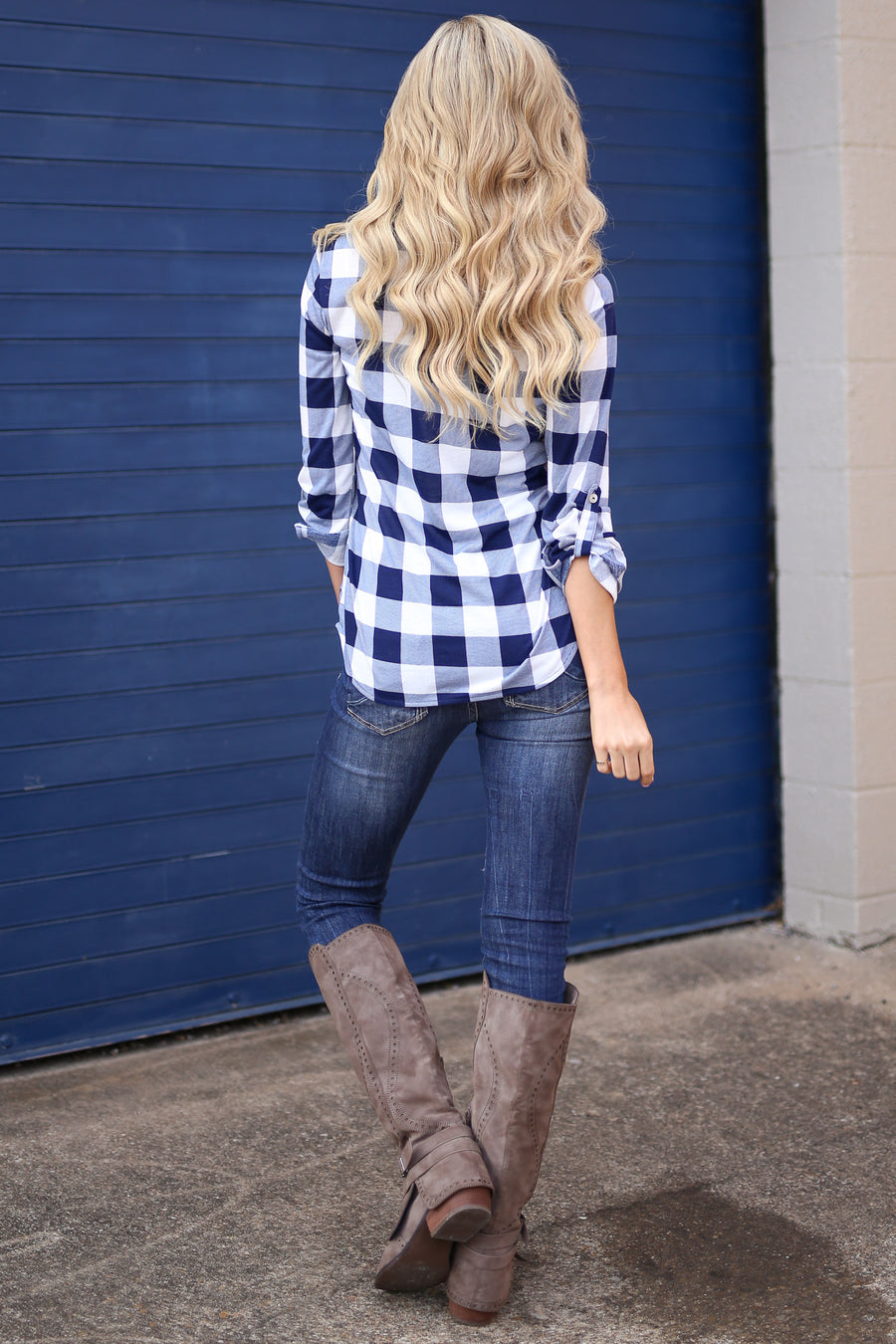 Unmatched Beauty Top - Navy/White checkered plaid button up top, front, Closet Candy Boutique
